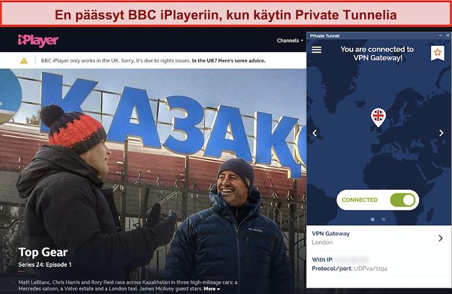 Näyttökuva BBC iPlayerista, joka estää yksityisen tunnelin