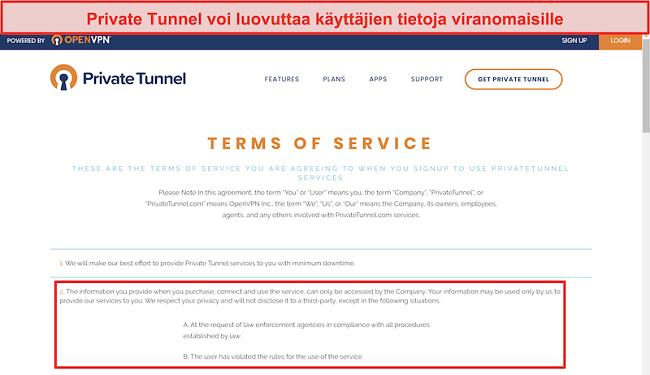 Näyttökuva Private Tunnelin käyttöehdoista