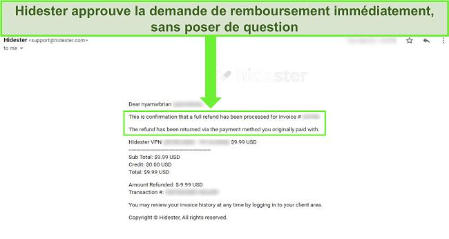 Capture d'écran de l'assistance Hidester approuvant le remboursement