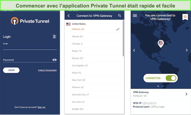 Capture d'écran de la configuration de l'application Android de Private Tunnel.