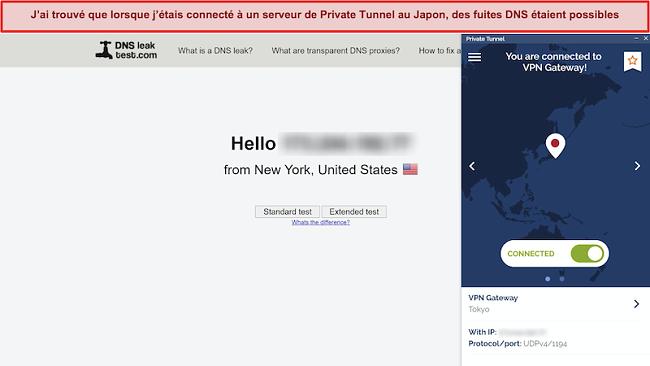 Capture d'écran de DNSleaktest.com montrant une connexion depuis New York malgré une connexion à un serveur au Japon.