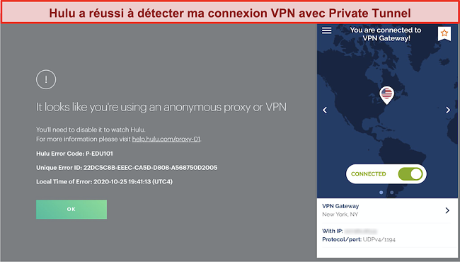 Capture d'écran de Hulu bloquant la connexion du VPN du tunnel privé