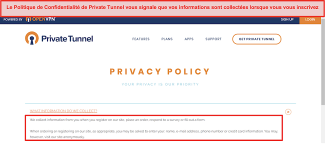 Capture d'écran de la politique de confidentialité de Private Tunnel