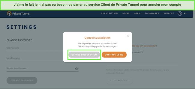 Capture d'écran du processus d'annulation de l'abonnement à Private Tunnel.