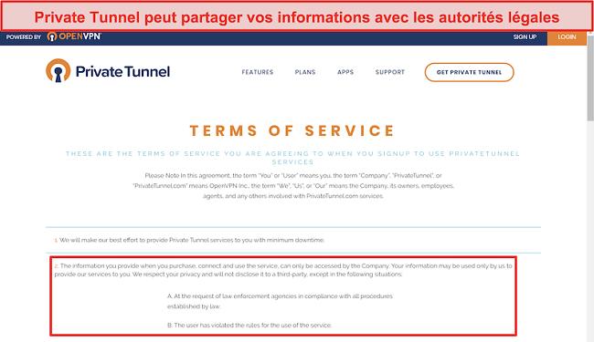 Capture d'écran des conditions d'utilisation de Private Tunnel