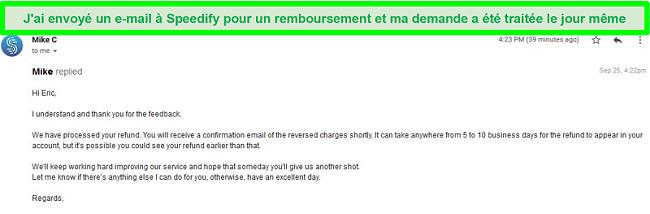 Capture d'écran d'un e-mail du support Speedify traitant une demande de remboursement
