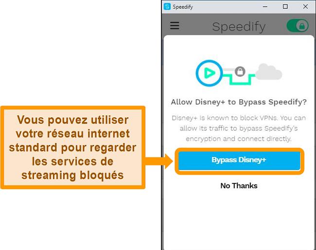 Capture d'écran de l'interface utilisateur de Speedify montrant une option de contournement pour Disney +