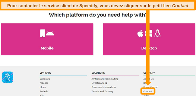 Capture d'écran de la page d'assistance sur le site Web de Speedify