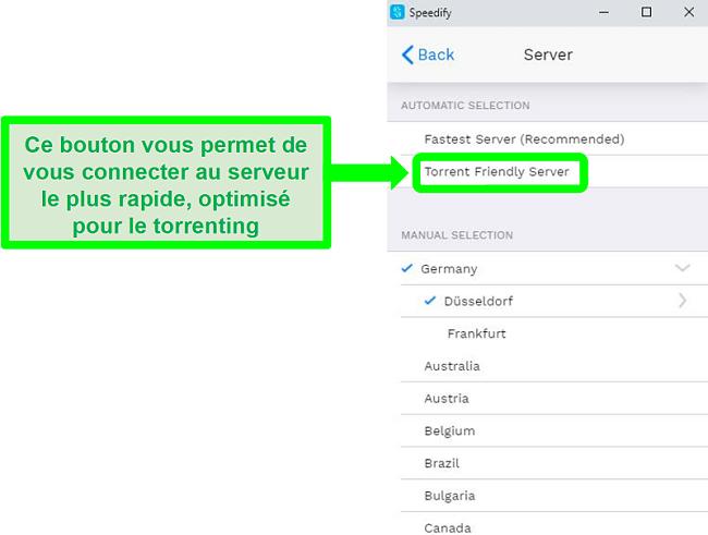 Capture d'écran du menu de sélection de serveur de Speedify