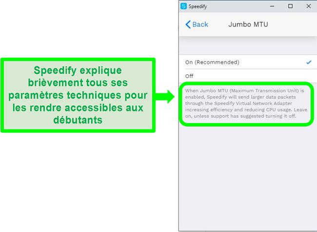 Capture d'écran d'une explication sous l'un des paramètres de Speedify