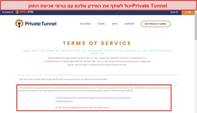 צילום מסך של תנאי השירות של מנהרה פרטית
