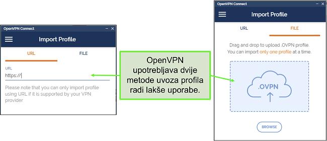 Snimka zaslona dva načina na koja možete uvesti profile poslužitelja u korisničko sučelje OpenVPN.