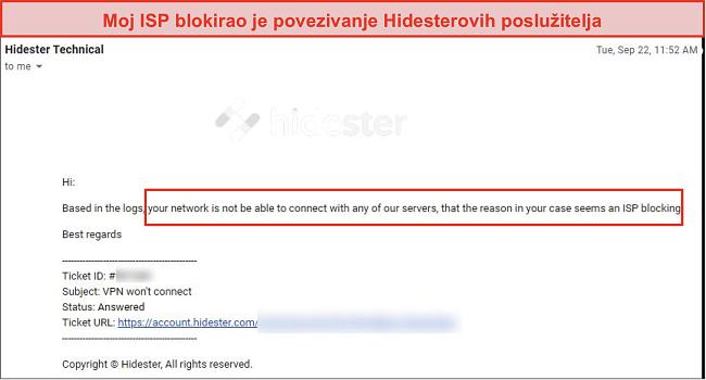 Snimku zaslona Hidestera blokirao ISP