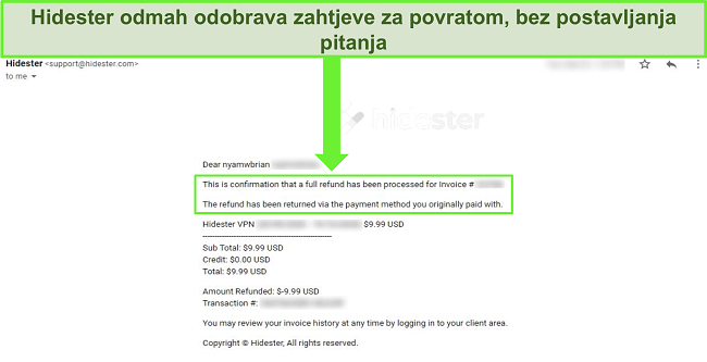 Snimka zaslona podrške tvrtke Hidester koja odobrava povrat novca