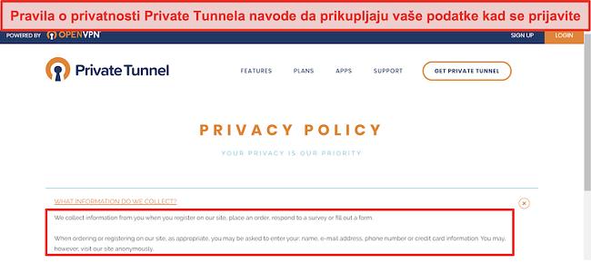 Snimka zaslona politike privatnosti privatnog tunela