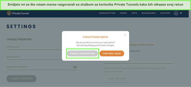 Snimka zaslona postupka otkazivanja pretplate privatnog tunela.