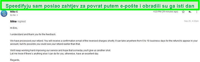 Snimka zaslona e-pošte s podrške za Speedify koja obrađuje zahtjev za povrat novca