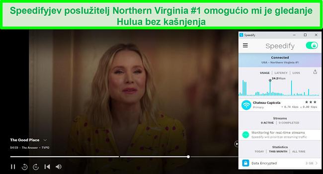 Snimka zaslona Netflixa kako igra Unbreakable Kimmy Schmidt dok je Speedify spojen na poslužitelj na španjolskom