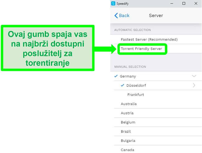Snimka zaslona izbornika za odabir poslužitelja Speedifyja