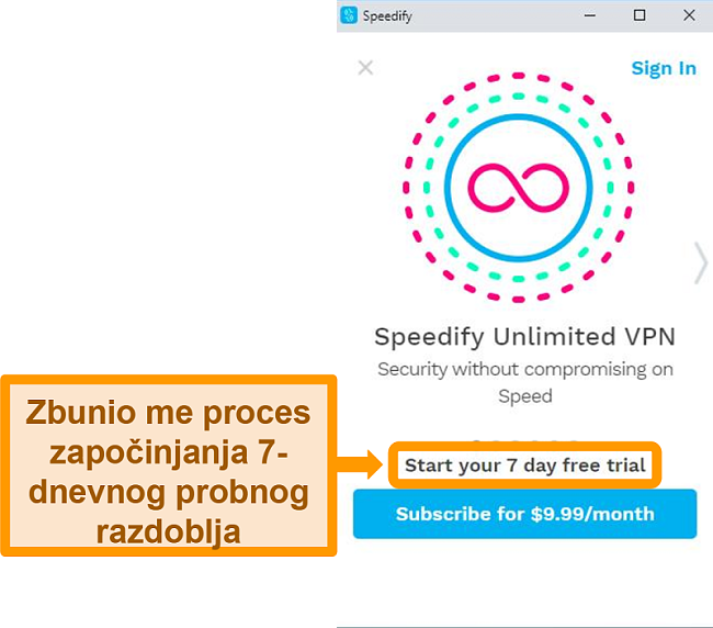 Snimka zaslona Speedifyevog početnog zaslona
