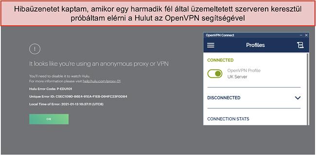 Pillanatkép a Hulu VPN hibáról, mellette megnyílt az OpenVPN alkalmazás.