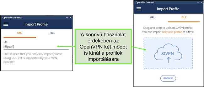 Képernyőkép a szerverprofilok importálásának két módjáról az OpenVPN felhasználói felületére.
