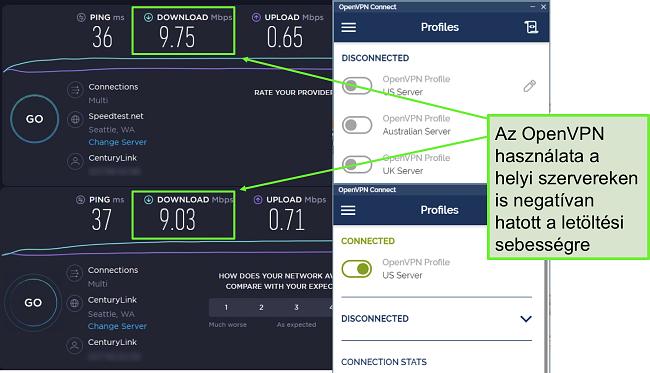 Pillanatkép két nagyon hasonló adatokkal ellátott sebességtesztről, amelyek mindegyike Seattle-kiszolgálót használ.