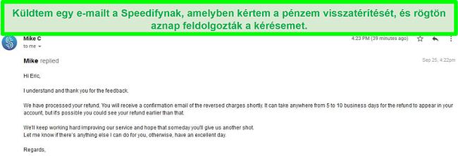 A Speedify támogatási e-mailjének képernyőképe a visszatérítési kérelem feldolgozásáról