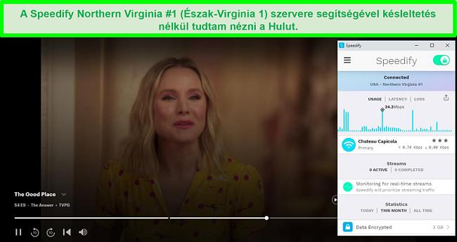 Pillanatkép arról, hogy a Netflix feltörhetetlen Kimmy Schmidt-t játszik, miközben a Speedify egy spanyol szerverhez csatlakozik
