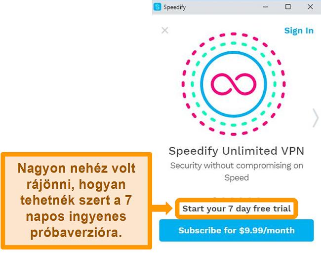 Pillanatkép a Speedify indító képernyőjéről