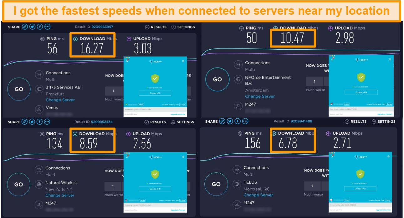Screenshot of Hide.me VPN connected to servers in Germany, the Netherlands, US, and Canada and speed test results