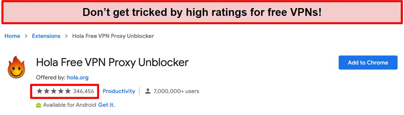 Screenshot of Hola Free VPN Proxy Unblocker on Google Chrome extensions store