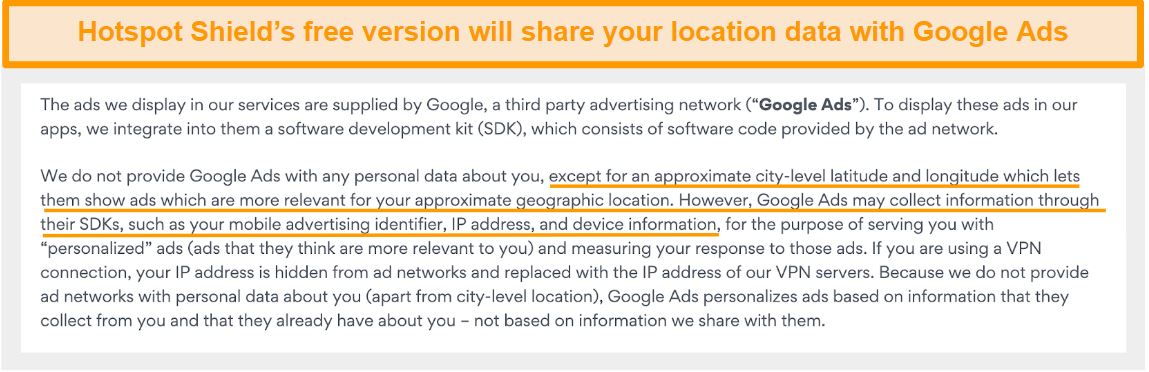 Screenshot of Hotspot Shield's privacy policy on Google Ads
