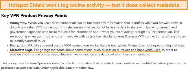 Screenshot of Hotspot Shields privacy policy