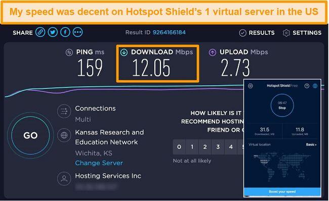 תמונת מסך של הגרסה החינמית של Hotspot Shield ב- Mac המחוברת לשרת אמריקאי עם תוצאות בדיקת מהירות