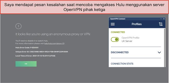 Tangkapan layar kesalahan VPN Hulu, dengan aplikasi OpenVPN terbuka di sebelahnya.