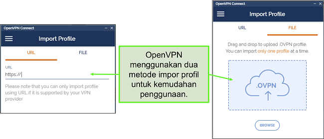 Cuplikan layar dari dua cara Anda dapat mengimpor profil server ke UI OpenVPN.