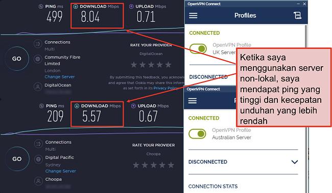 tangkapan layar dari dua tes kecepatan, satu dengan server London, satu lagi dengan server Sydney