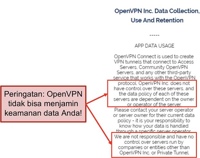 tangkapan layar kebijakan privasi OpenVPN.