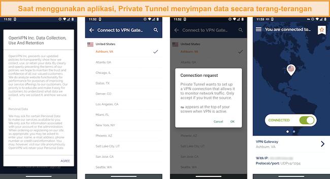 Tangkapan layar dari aplikasi terowongan pribadi yang menunjukkan Pengumpulan Data, Penggunaan dan kebijakan Retensi, termasuk munculan yang mengungkapkan bahwa koneksi jaringan sedang dipantau.
