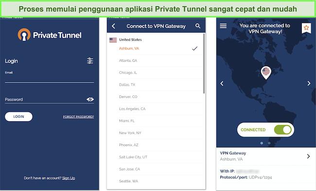 Tangkapan layar dari penyiapan aplikasi Android Private Tunnel.