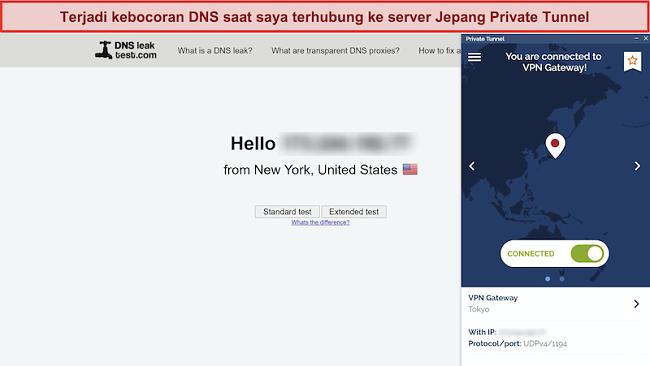 Tangkapan layar DNSleaktest.com menunjukkan koneksi dari New York meskipun terhubung ke server di Jepang.