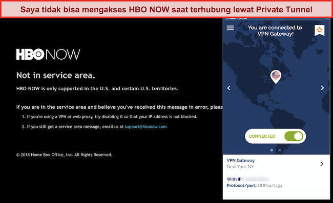 Tangkapan layar HBO SEKARANG memblokir koneksi dari Private Tunnel