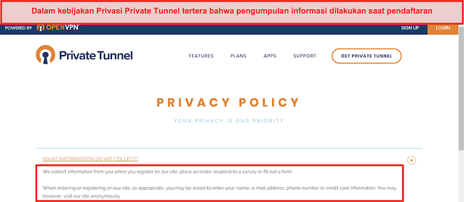 Tangkapan layar Kebijakan Privasi Terowongan Pribadi