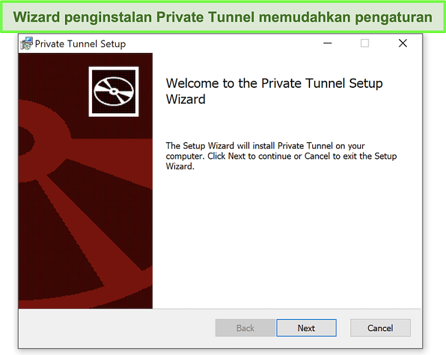 Cuplikan layar wizard penginstalan Private Tunnel.
