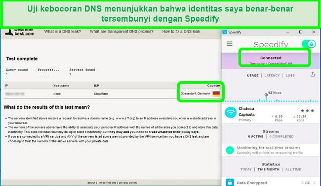 Tangkapan layar uji kebocoran DNS saat Speedify tersambung ke server Jerman