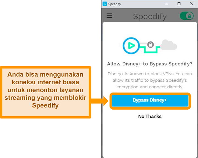 Tangkapan layar antarmuka pengguna Speedify yang menampilkan opsi pintas untuk Disney +