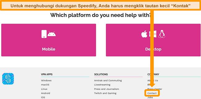 Tangkapan layar halaman dukungan di situs web Speedify