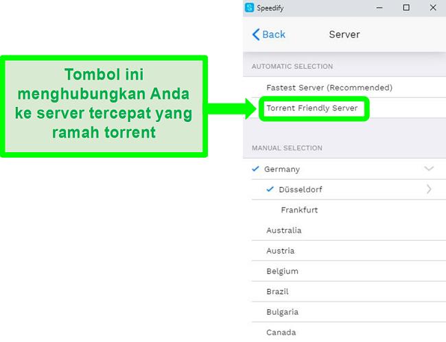 Tangkapan layar dari menu pemilihan server Speedify