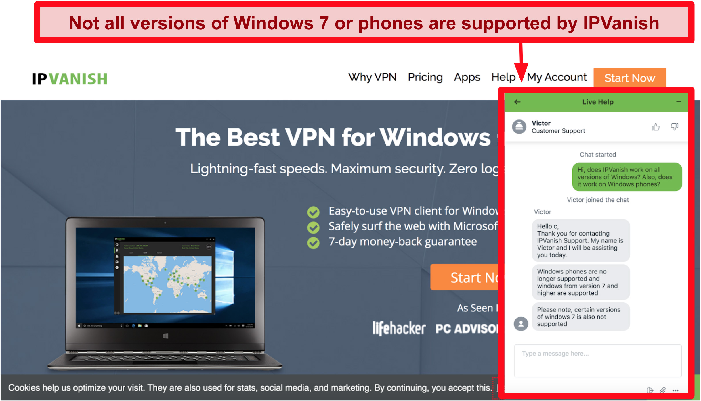Screenshot of IPVanish's customer chat saying windows phones and windows 7 are not supported